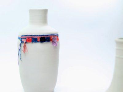 Embroidered Ceramic Fransen Fringes necklace